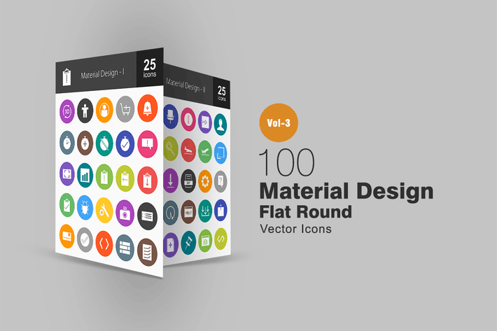 Thumbnail for 100 Material-Design Flache runde Icons