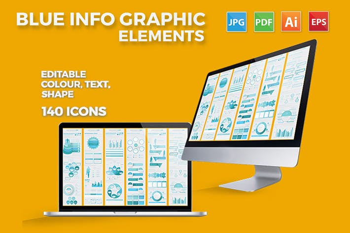 Thumbnail for Soft Blue Infographic Set Design