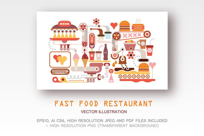 Thumbnail for Fast Food Restaurant vector illustration