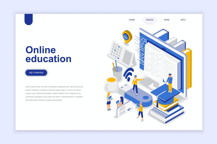 Online Education Isometric Landing Page - product preview 0