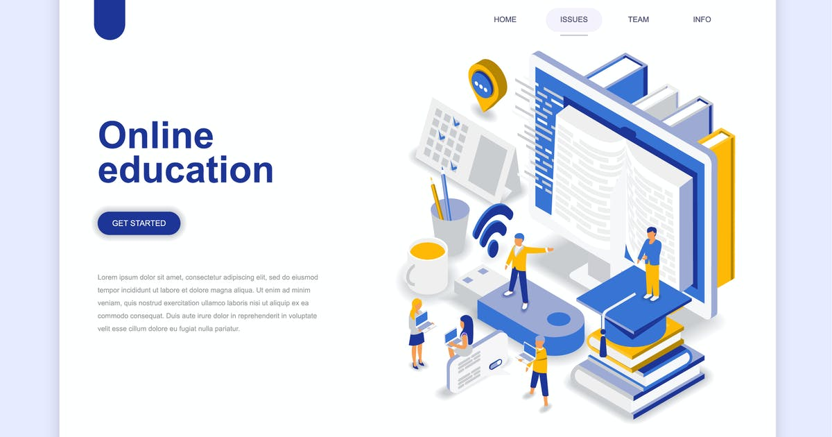 Online Education Isometric Landing Page by alexdndz