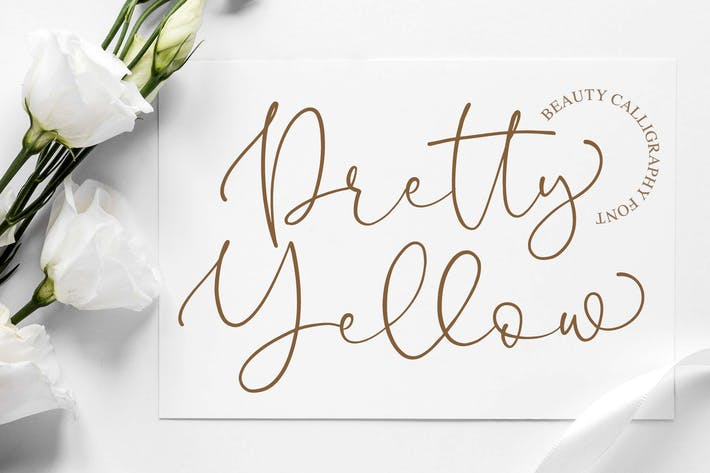 Pretty Yellow Beauty Calligraphy Font