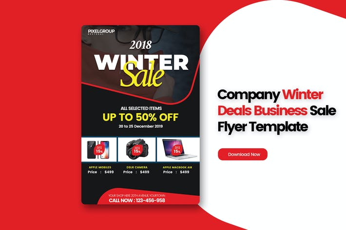 Thumbnail for Company Winter Deals Business Sale Flyer Template