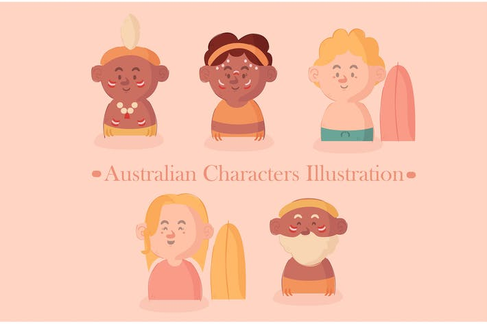 Thumbnail for Australian Characters Pack Illustration