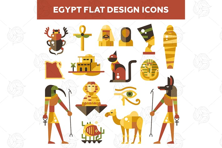 Thumbnail for Egypt - flat design style icons
