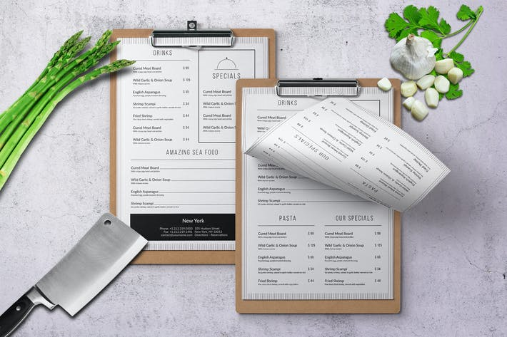 Thumbnail for Minimal Modern A4 & US Letter Food Menu