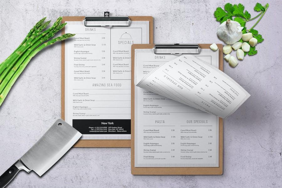 Minimal Modern A4 & US Letter Food Menu