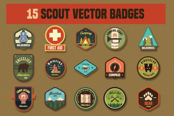 Thumbnail for 15 Scout Vector Badges icon