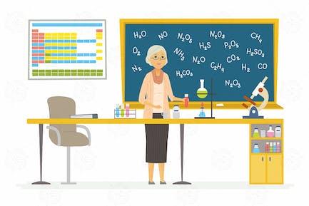 Chemistry teacher - vector colorful illustration
