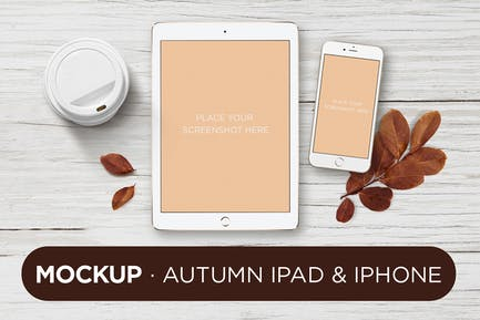 Maquette iPad Blanc Automne