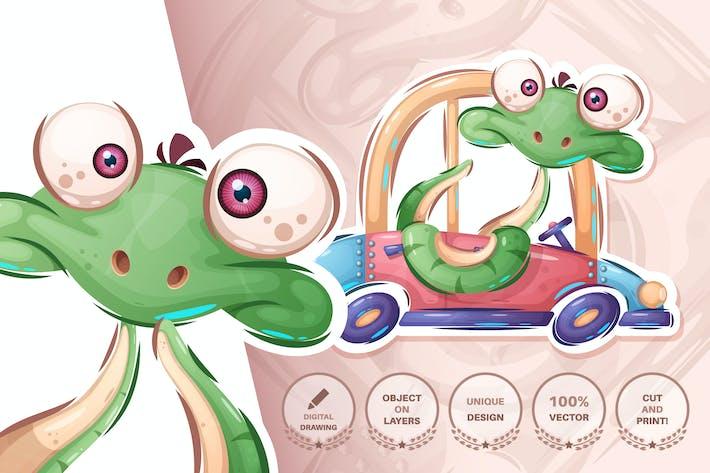 Thumbnail for Snake conduce el coche - patrón sin costuras