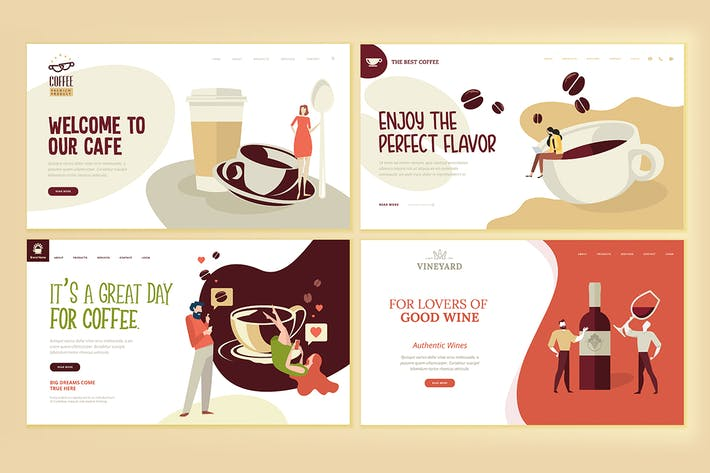 Thumbnail for Web Page Design Templates for Food and Drink