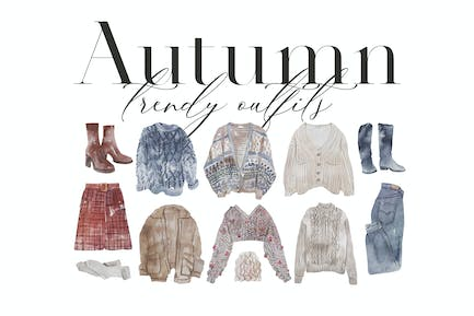 Autumn Outfits - Watercolor Clothes Collection