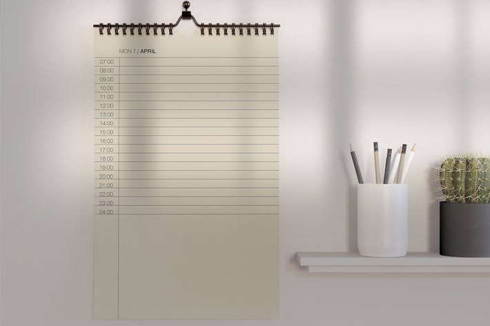 Thumbnail for Desk with Calendar Mockup