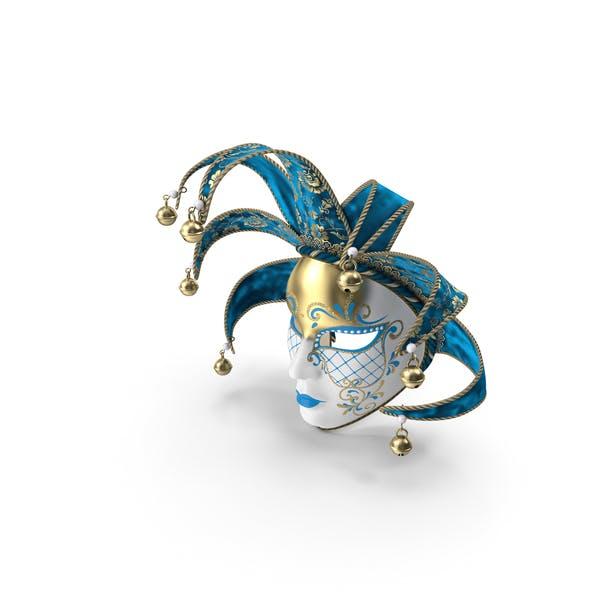 Blaue venezianische Vollgesichtsmaske für Karneval