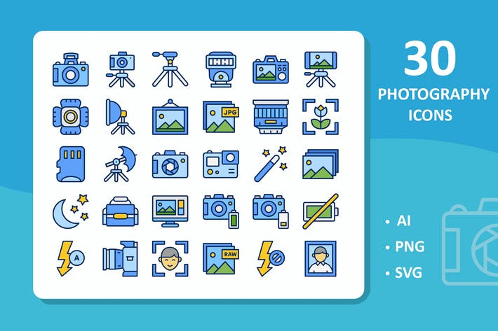 Thumbnail for Photography Icons - Filled Line
