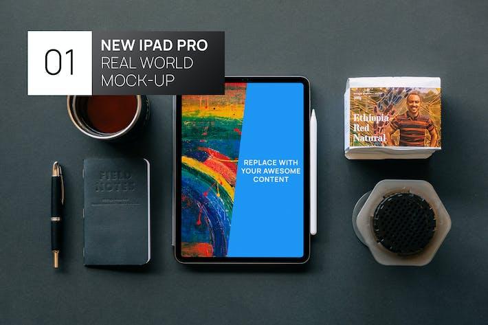 Thumbnail for New iPad Pro 11 Dark Flat Lay Real World Mock-Up