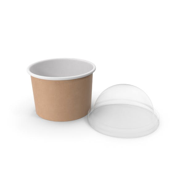 Thumbnail for Kraft Paper Food Cup with Clear Lid for Dessert 8 Oz 200 ml Open