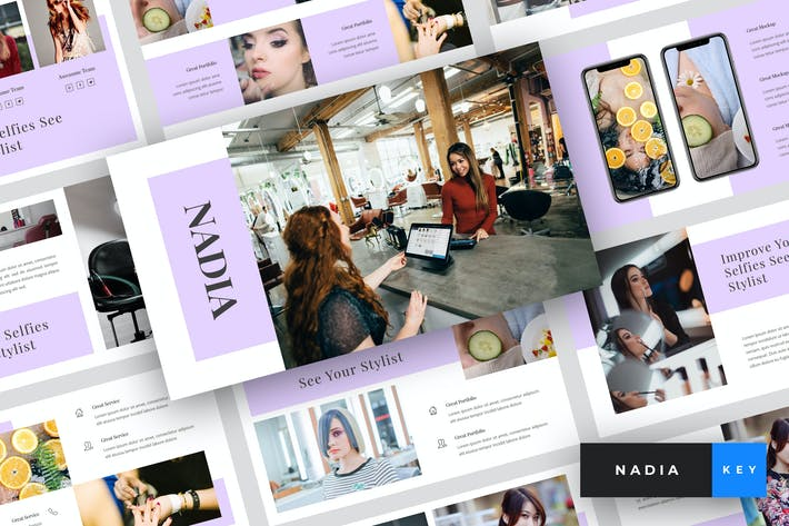 Thumbnail for Nadia - Hair Salon Keynote Template