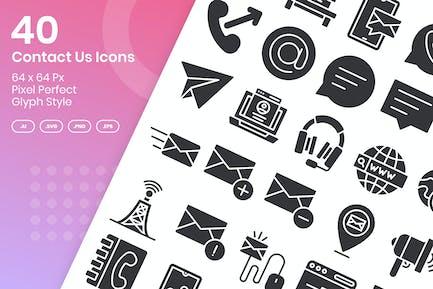 40 Contact Us Icons Set - Glyph