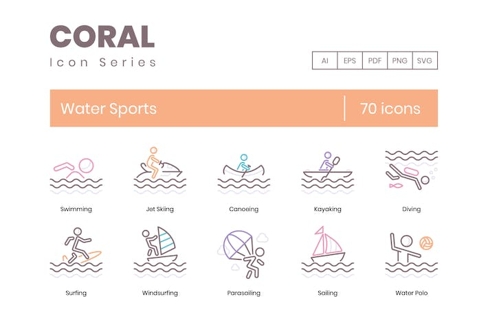 Thumbnail for 70 Water Sports Icons | Coral Series
