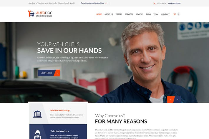 Thumbnail for AutoDoc - HTML Car Repair Mechanic Shop