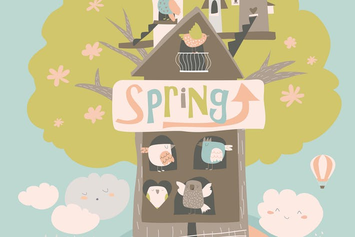 Thumbnail for Cute little birds and birdhouse on spring tree. Ve