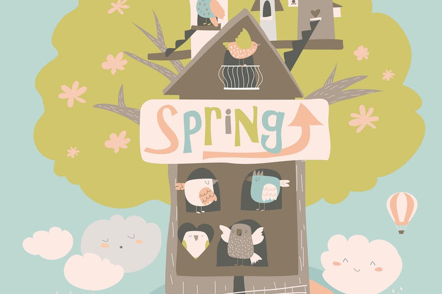 Cute little birds and birdhouse on spring tree. Ve