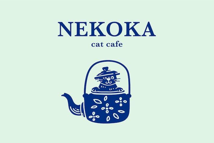 Thumbnail for Minimal Vintage Cat Cafe Logo