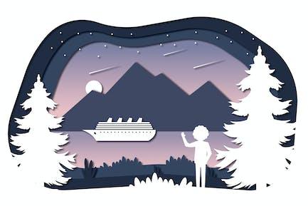 Starfall - Vektor -Papierschnitt-Illustration