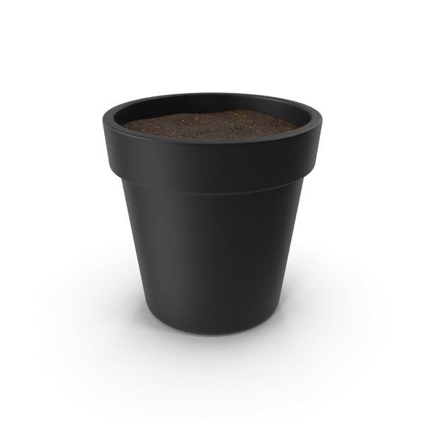 Black Plant Pot With Soil