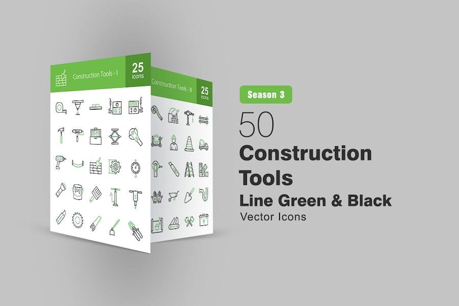 50 Bauwerkzeuge Linie Grün & Schwarz Icons
