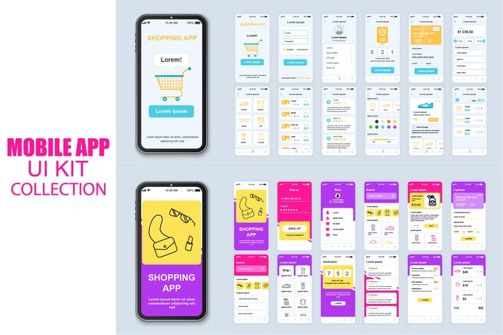 Thumbnail for Big Collection Shopping Mobile App Ui Kit Screen