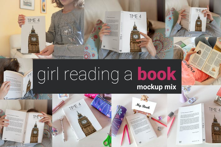 Thumbnail for Girl Reading a Book Mock-up