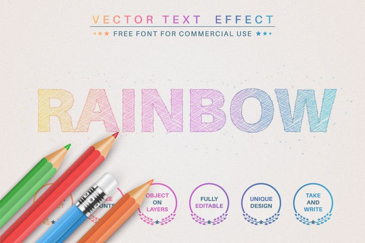 Карандаш радуга - редактируемый текстовый эффект, стиль шрифта