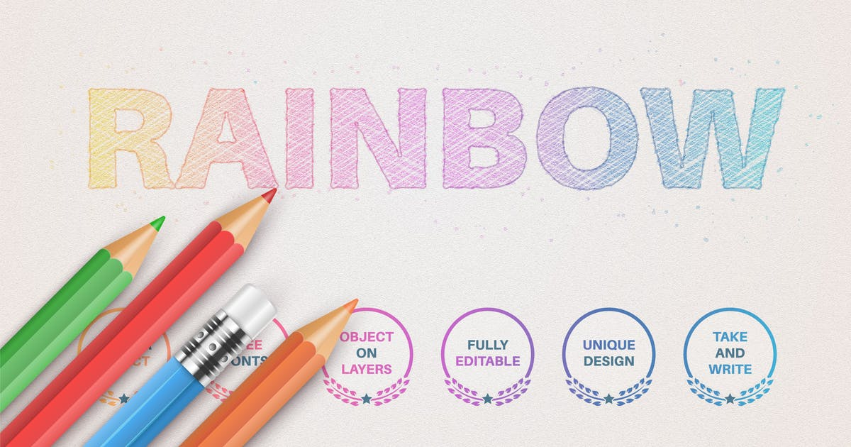 Download Pencil rainbow - editable text effect, font style by rwgusev