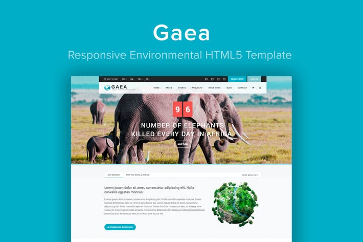 Cover Image For GAEA - Responsive Environmental HTML5 Template