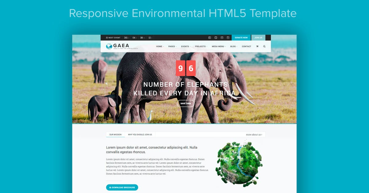 Download GAEA - Responsive Environmental HTML5 Template by imithemes