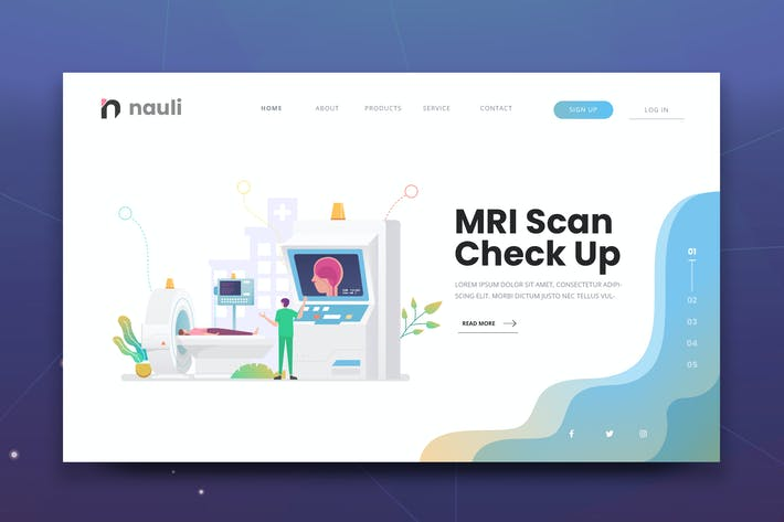 Thumbnail for MRI Scan Checkup Web PSD and AI Vector Template
