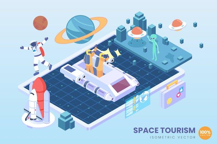 Thumbnail for Isometrischer Weltraumtourismus Vektor konzept