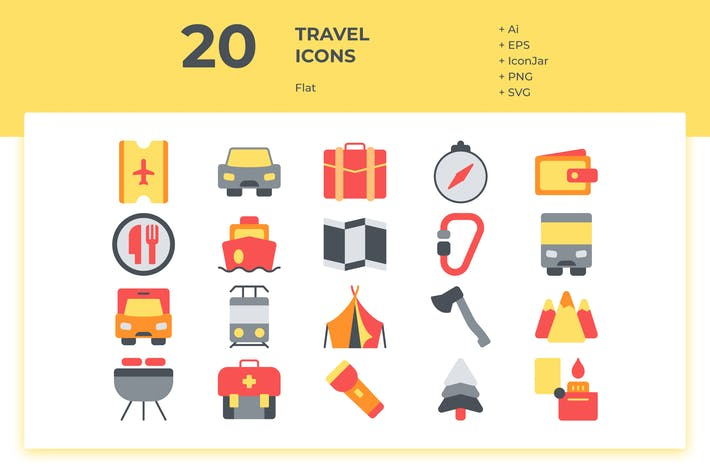 Thumbnail for 20 Travel Icons (Flat)