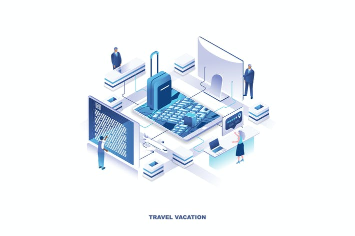 Cover Image For Travel Vacation Isometric Banner Flat Concept