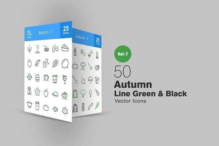50 Autumn Green & Black Line Icons