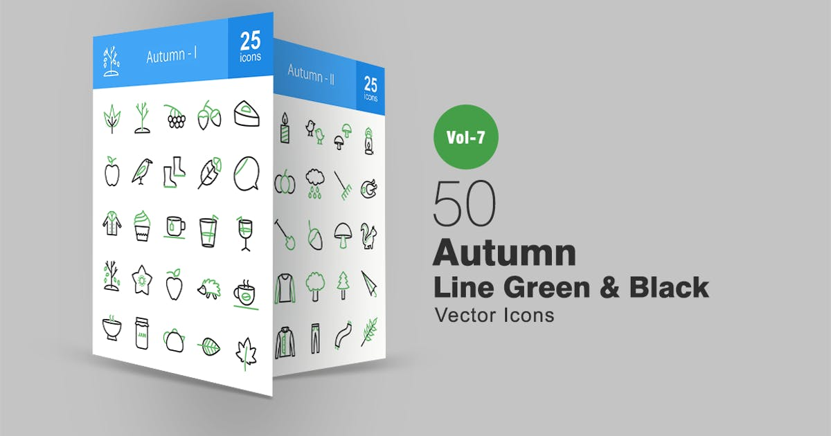 Download 50 Autumn Green & Black Line Icons by IconBunny