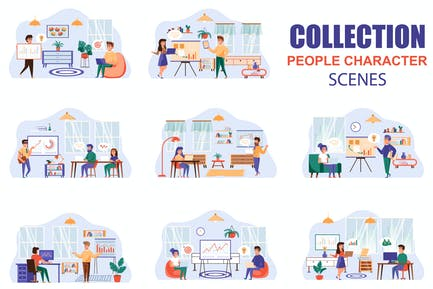 Data Analysis People Character Scenes Kit
