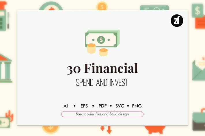 Thumbnail for 30 Financial elements in flat and solid design