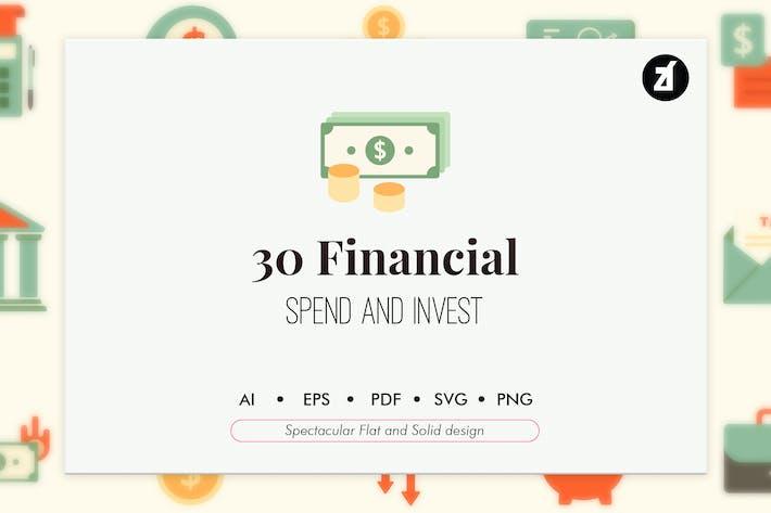Thumbnail for 30 elementos financieros en diseño plano y sólido