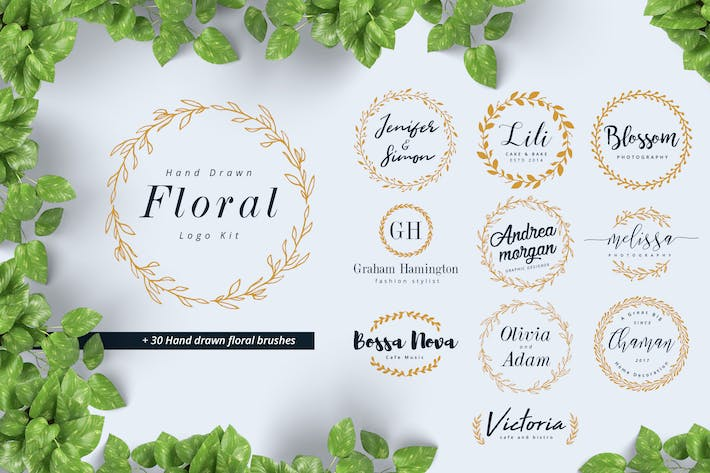 Thumbnail for Hand Drawn Floral Logo Kit