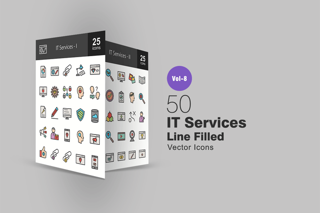 50 IT Services Line Filled Icons