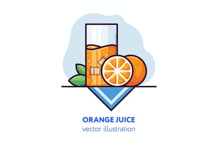 Ilustración vectorial de jugo de naranja